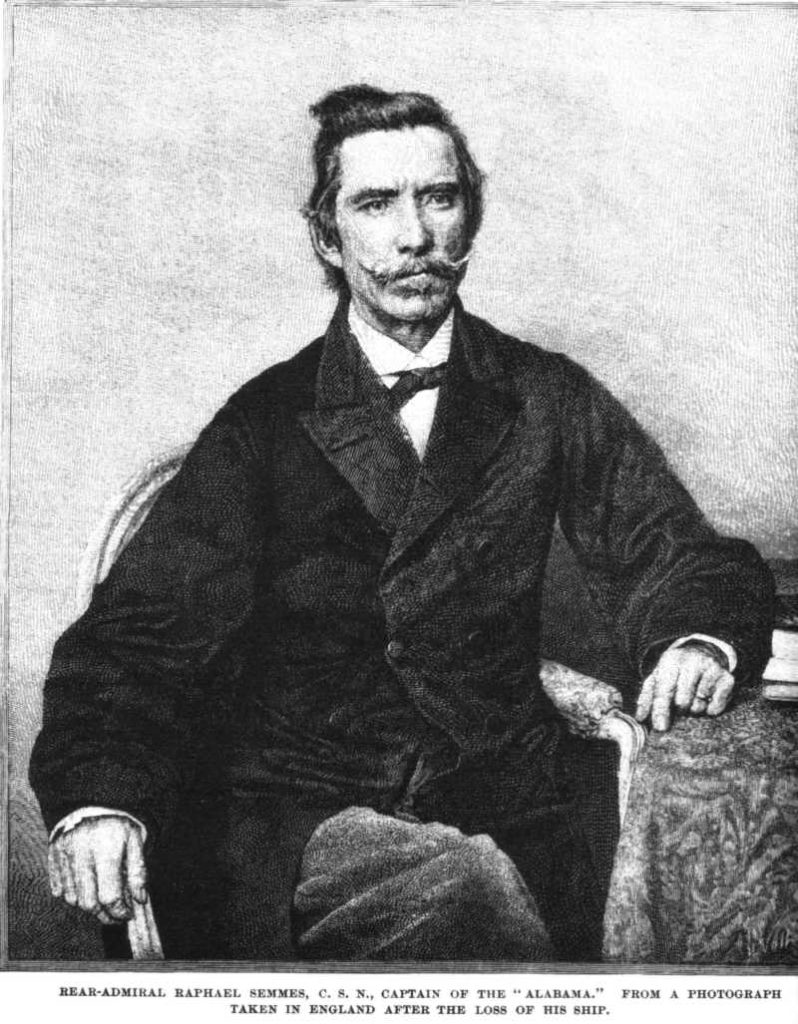 Captain Raphael Semmes of the CSS Alabama, pictured not long after the loss of his ship