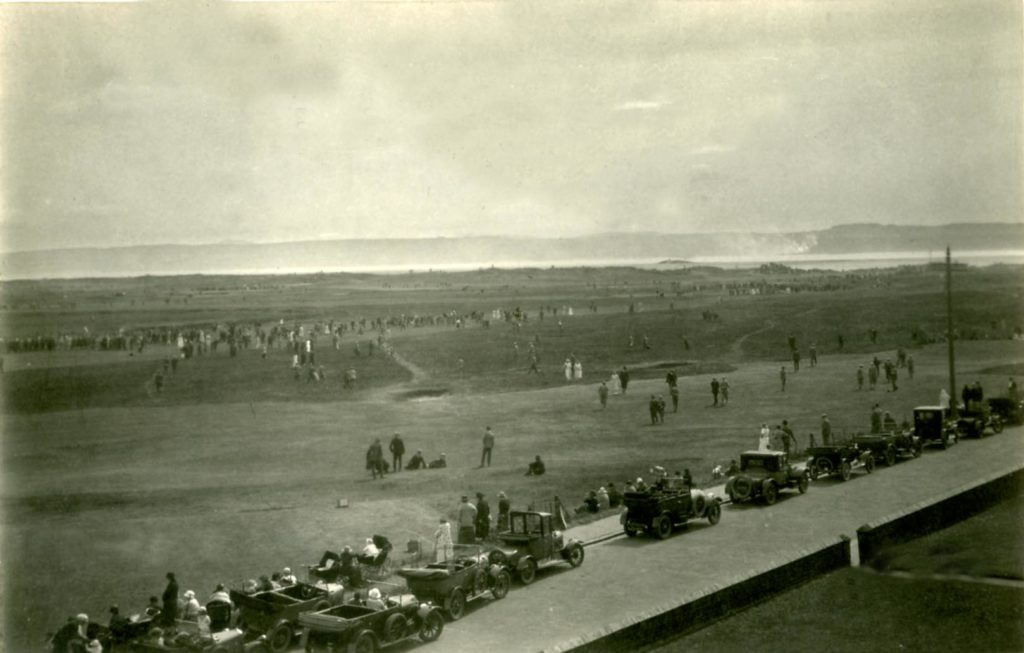 The Hoylake golf links from Stanley Road in the 1920's
