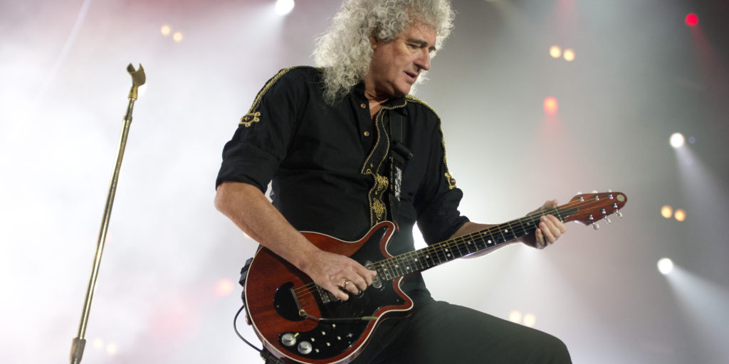 Guitarist Brian May of Queen and Adam Lambert perform live at the Ziggo Dome in Amsterdam, Netherlands, January 30, 2015. Photo by Robin Utrecht/ABACAPRESS.COM